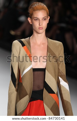NEW YORK - SEPTEMBER 13: Model walks the runway at the Narciso Rodriguez S/S 2012 collection presentation during Mercedes-Benz Fashion Week on September 13, 2011 in New York.