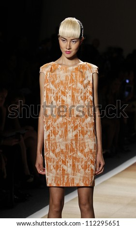 NEW YORK - SEPTEMBER 7: Model walks the runway for Cesar Galindo Czar Collection during Spring/Summer 2013 at Mercedes-Benz Fashion Week on September 7, 2012 in New York - stock photo
