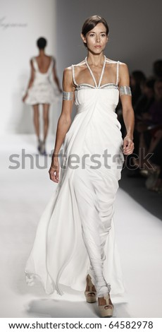 NEW YORK - SEPTEMBER 09: Model walks the runway for Farah Angsana Collection for Spring/Summer 2011 during Mercedes-Benz Fashion Week on September 09, 2010 in New York - stock photo