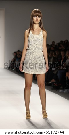 NEW YORK - SEPTEMBER 16: Model walks the runway for Ivana Helsinki Collection on Spring/Summer 2011 during Mercedes-Benz Fashion Week on September 16, 2010 in New York