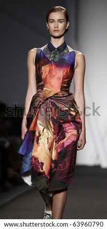 NEW YORK - SEPTEMBER 10: Model walks the runway for Michael Angel Collection Guli for Spring/Summer 2011 during Mercedes-Benz Fashion Week on September 10, 2010 in New York - stock photo