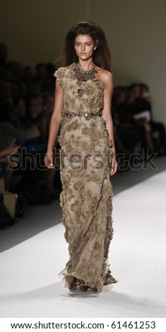 NEW YORK - SEPTEMBER 16: Model walks the runway for Naeem Khan Collection on Spring/Summer 2011 during Mercedes-Benz Fashion Week on September 16, 2010 in New York