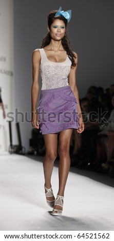 NEW YORK - SEPTEMBER 09: Model walks the runway for Richie Rich Collection for Spring/Summer 2011 during Mercedes-Benz Fashion Week on September 09, 2010 in New York