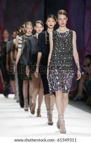 NEW YORK - SEPTEMBER 11: Models are walking the runway at Cynthia Rowley collection presentation for Spring/Summer 2011 during Mercedes-Benz Fashion Week on September 11, 2010 in New York - stock photo