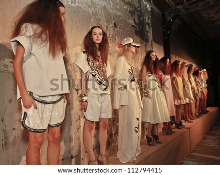 NEW YORK - SEPTEMBER 13: Models show off dresses during Cynthia Rowley presentation at Spring/Summer 2013 at Mercedes-Benz Fashion Week on September 13, 2012 in New York - stock photo
