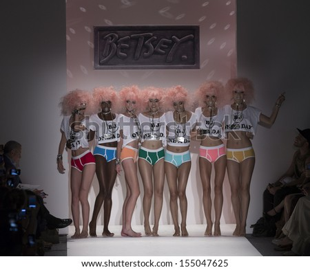 NEW YORK - SEPTEMBER 11: Models walk runway during Spring/Summer 2014 Fashion week for collection by Betsey Johnson at Lincoln Center on September 11, 2013 in New York
