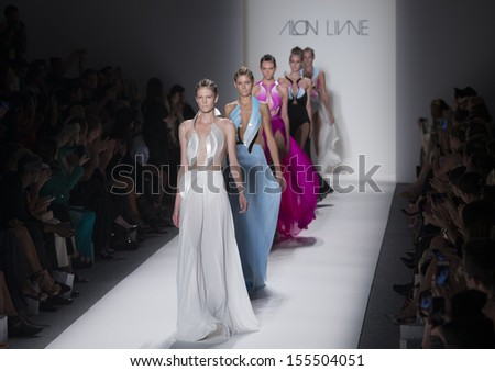 NEW YORK - SEPTEMBER 10: Models walk runway during Spring/Summer 2014 Fashion week for collection by Alon Livne at Lincoln Center on September 10, 2013 in New York - stock photo
