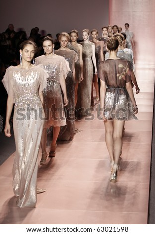 NEW YORK - SEPTEMBER 13: Models walk runway for new collection by Jenny Packham  on Spring/Summer 2011 during Mercedes-Benz Fashion Week on September 13, 2010 in New York - stock photo