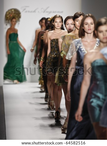 NEW YORK - SEPTEMBER 09: Models walk the runway for Farah Angsana Collection for Spring/Summer 2011 during Mercedes-Benz Fashion Week on September 09, 2010 in New York - stock photo