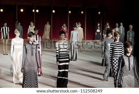NEW YORK - SEPTEMBER 10: Models walk the runway for Marc Jacobs Collection during Spring/Summer 2013 at Mercedes-Benz Fashion Week in Lexington Armory on September 10, 2012 in New York - stock photo