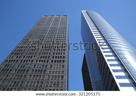 NEW YORK - SEPTEMBER 24, 2015: Modern buildings in Lower Manhattan