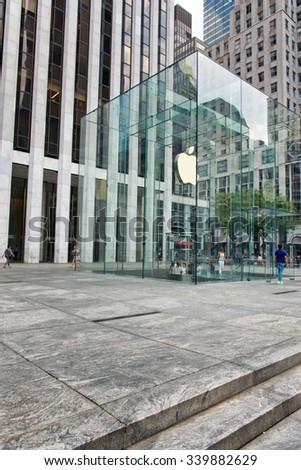 NEW YORK - SEPTEMBER 06: Modern Glass Entrance with Logo to Apple Store on Fifth Avenue in New York City, New York, USA. September 06 2015. - stock photo