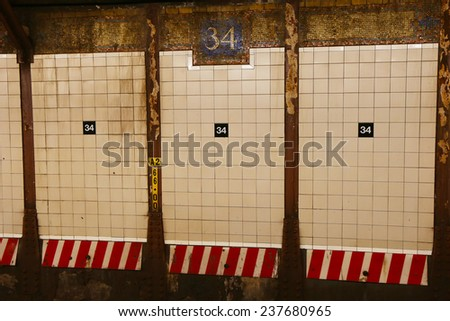 NEW YORK - SEPTEMBER 8, 2014: Mosaic sign at the 34 Street Subway Station in Manhattan on September 8, 2014 - stock photo