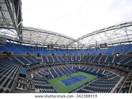 NEW YORK - SEPTEMBER 12, 2015: Newly Improved Arthur Ashe Stadium at the Billie Jean King National Tennis Center during US Open tournament in Flushing, NY