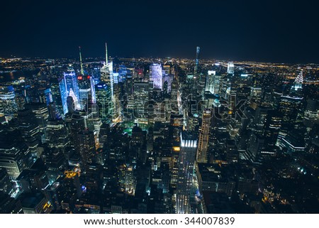 New York - September 26 , Night view from the Empire State bulding on 26 September 2015. left hudson river right Chrysler Building and Bryant park in the middle. - stock photo