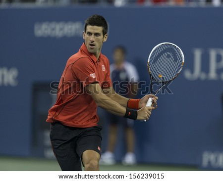 NEW YORK - SEPTEMBER 9: Novak Djokovic of Serbia returns ball during US Open final match against Rafael Nadal of Spain at USTA Billie Jean King National Tennis Center on September 9, 2013 in New York