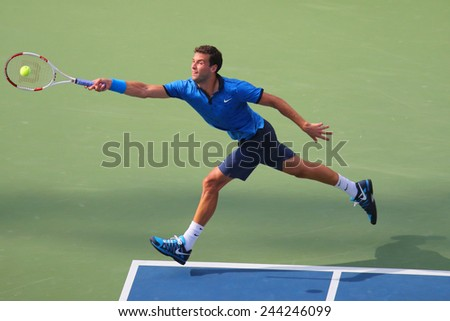 NEW YORK -SEPTEMBER 2, 2014: Professional tennis player Grigor Dimitrov from Bulgaria during round 4 match against Gael Monfils  at Billie Jean King National Tennis Center in New York  - stock photo
