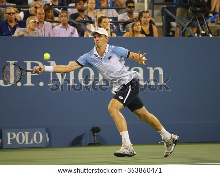 NEW YORK - SEPTEMBER 7, 2015: Professional tennis player Kevin Anderson of South Africa in action during US Open 2015 round four match at Billie Jean King National Tennis Center in New York - stock photo