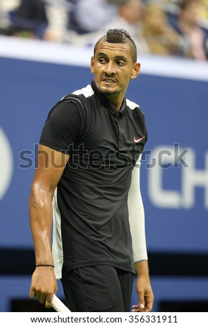 NEW YORK - SEPTEMBER 1, 2015:Professional tennis player Nick Kyrgios of Australia in action during his first round match at US Open 2015 at Billie Jean King National Tennis Center in New York - stock photo