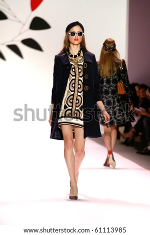 NEW YORK - SEPTEMBER 15: Rasa is walking the runway at the Milly by Michelle Smith collection presentation for Spring/Summer 2011 during Mercedes-Benz Fashion Week on September 15, 2010 in New York - stock photo
