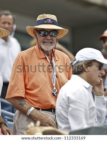 NEW YORK - SEPTEMBER 8: Sean Connery attends semifinal match between Andy Murray of United Kingdom & Tomas Berdych of Czech Republic at US Open tennis tournament on September8, 2012 in New York