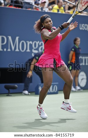 NEW YORK - SEPTEMBER 05: Serena Williams of USA returns ball during 4th round match against Ana Ivanovic of Serbia at USTA Billie Jean King National Tennis Center on September 05, 2011 in NYC
