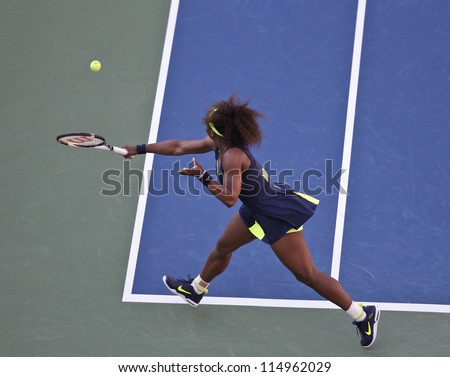 NEW YORK - SEPTEMBER 9: Serena Williams of USA returns the ball during final against Victoria Azarenka of Belarus at US Open tennis tournament on Sep 9, 2012 in New York City