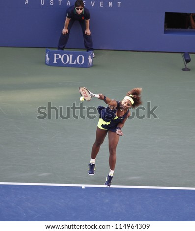 NEW YORK - SEPTEMBER 9: Serena Williams of USA serves during final against Victoria Azarenka of Belarus at US Open tennis tournament on Sep 9, 2012 in New York City