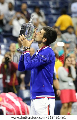 NEW YORK - SEPTEMBER 14, 2015: Ten times Grand Slam champion Novak Djokovic during trophy presentation after men's final match at US OPEN 2015 at Billie Jean King National Tennis Center in New York - stock photo