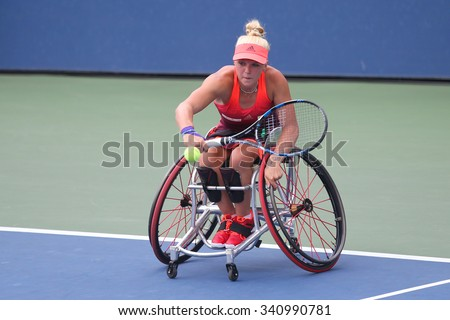 NEW YORK - SEPTEMBER 12, 2015: Tennis player Jordanne Whiley of Great Britain in action during Wheelchair Quad Singles semifinal match at US OPEN 2015 at Billie Jean King National Tennis Center in NY - stock photo
