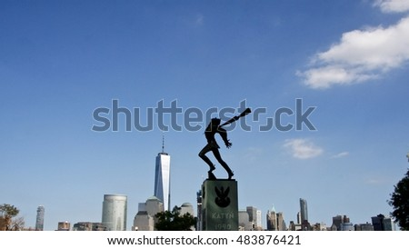 New York-September 13th 2016: The Katyn? Memorial is dedicated to the victims of the Katyn massacre in 1940. Created by sculptor Andrzej Pitynski, the memorial stands at Exchange Place in Jersey City.