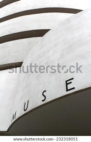 NEW YORK - SEPTEMBER 01: The Solomon R. Guggenheim Museum of modern and contemporary art, located on Manhattan, on September 01, 2013, in New York City, USA. Designed by Frank Lloyd Wright.  - stock photo