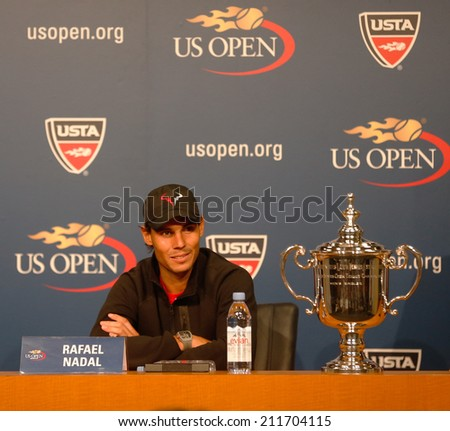NEW YORK - SEPTEMBER 9: Thirteen times Grand Slam champion Rafael Nadal during press conference after he won US Open 2013 at Billie Jean King National Tennis Center on September 9, 2013 in New York  - stock photo