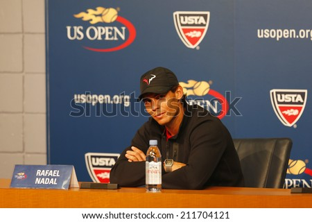 NEW YORK - SEPTEMBER 7: Thirteen times Grand Slam champion Rafael Nadal during press conference after he won semifinal match at US Open 2013 at National Tennis Center on September 7, 2013 in New York - stock photo
