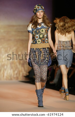 NEW YORK - SEPTEMBER 15: Top model Jac Jagaciak walks the runway at the Anna Sui collection presentation for Spring/Summer 2011 during Mercedes-Benz Fashion Week on September 15, 2010 in New York - stock photo