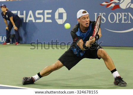 NEW YORK - SEPTEMBER 3, 2015:Two times Grand Slam Champion Lleyton Hewitt of Australia in action during his last US Open match at Billie Jean King National Tennis Center in New York - stock photo