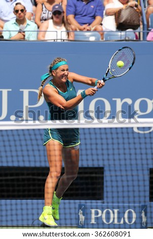 NEW YORK - SEPTEMBER 3, 2015: Two times Grand Slam champion Victoria Azarenka of Belarus in action during US Open 2015 second round match at Arthur Ashe Stadium - stock photo