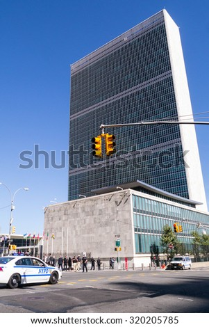NEW YORK - SEPTEMBER 24, 2015: United Nations security prepares for a visit from The Pope