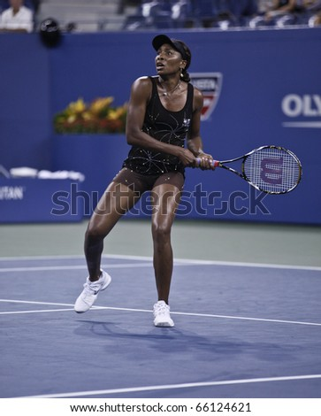 NEW YORK - SEPTEMBER 03: Venus Williams of USA returns the ball during match against Mandy Minella of Luxemburg at US Open Tennis Championship on September 03, 2010 in New York, City.