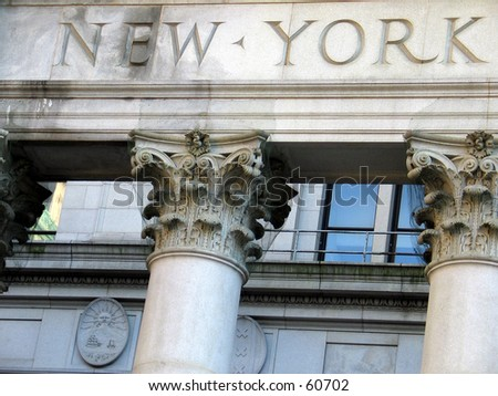 New York sign on City Hall - stock photo