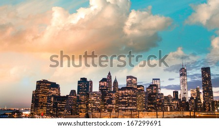 New York skyline aerial view.