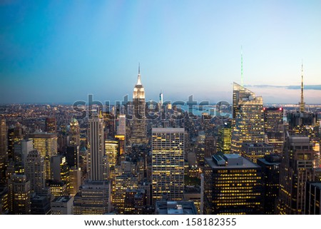 New York skyline at night.