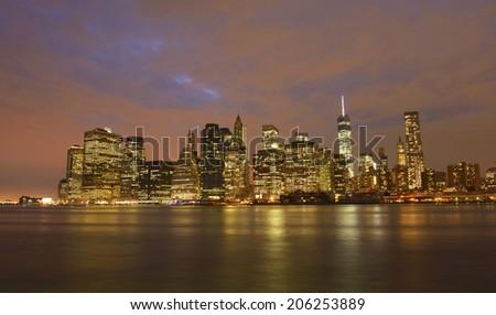 New York skyline by night - stock photo