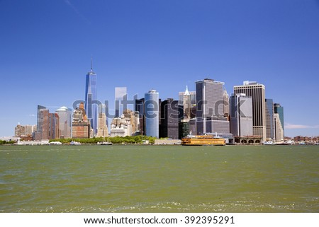 New York skyline downtown manhattan from Governors Island