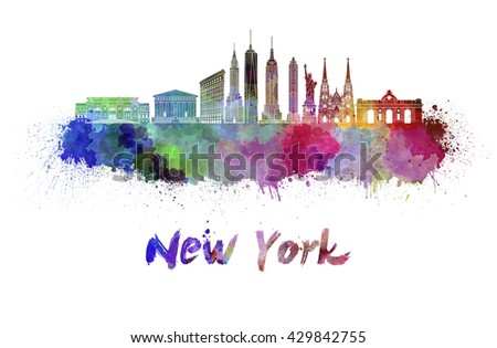 New York skyline in watercolor splatters with clipping path