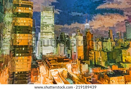 New York skyline. Midtown Manhattan at night. Illustration. - stock photo