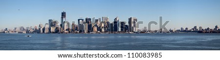 New York Skyline on a cold sunny winter day - stock photo