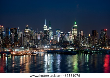 New York skyline on cold night - stock photo