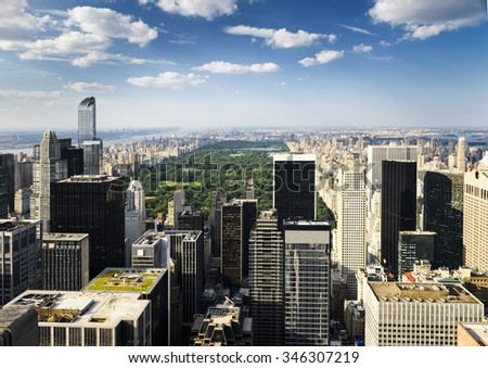 New york skyline with central park view - stock photo