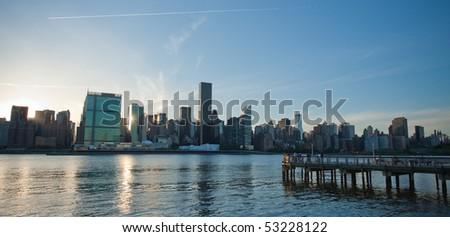 New York Skyline with Dock at Dusk